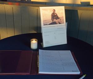 Condoleanceboek in het clubhuis