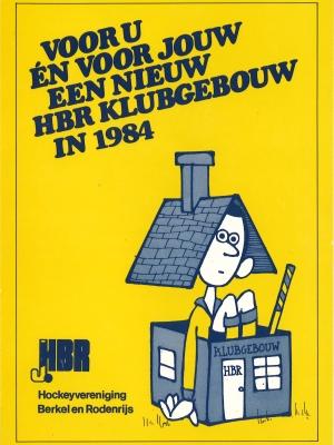 """Uitnodiging voor de receptie op 24 nov. 84 """"ter gelegenheid van ingebruik neming van het nieuwe klubhuis"""". Het moest rijmen, dus het Nederlands wordt daarvoor aangepast"""
