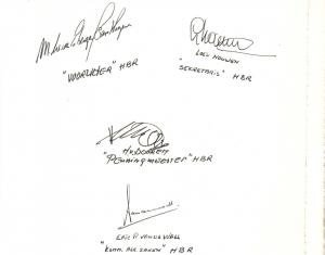 Openingspagina van het Receptieboek bij het Eerste lustrum (mei 1980)