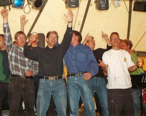 2005: Marc Hählen (links) VvhJ, hier met broer Serge en Paul Kooiker (LvV 2000) als H1 kampioenen